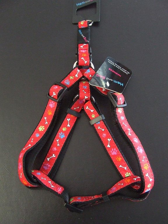 HEM AND BOO - Red Paws & Bones Harness - Small, Medium & Large