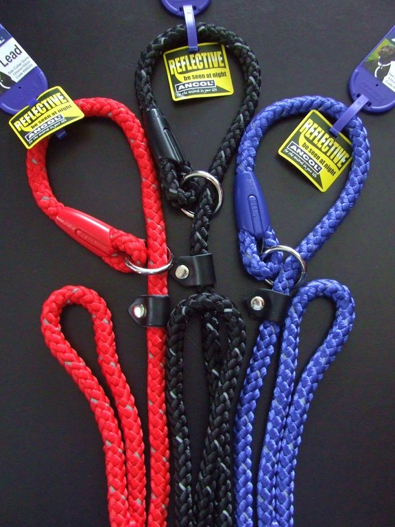 ANCOL - Night Reflective Mountain Rope Slip Lead - 150cm (60 inch) x 12mm